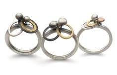 Cindy Ashbridge -Pebble and hoop rings. Rose gold,18ct yellow and silver.