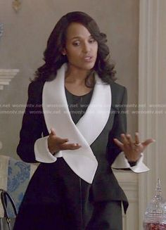 Olivia's black and white coat on Scandal.  Outfit Details: http://wornontv.net/52578/ #Scandal