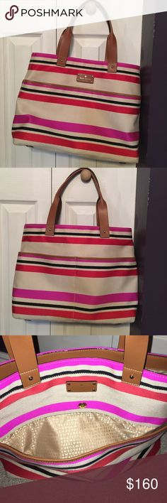 Kate Spade Oak Island Striped Tote Multi colored: red, cream, pink, black, brown. Leather handles in great condition; no splitting, ripping, or tearing. Large size tote! Button closure pocket on outside front, 2 pockets on outside back. 2 large pockets inside along with zippered pocket. Very spacious bag in great condition. A couple minor stains on back of bag (as seen in last picture) very minimal kate spade Bags Totes