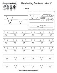 "This is a letter V tracing worksheet. Children can trace uppercase and lowercase letters and the word ""van."" You can download, print, or use it online. Letter Worksheets For Preschool, Handwriting Practice Worksheets, Alphabet Tracing Worksheets, Handwriting Analysis, Alphabet Writing, Tracing Letters, Kindergarten Worksheets, Free Preschool, Preschool Alphabet"