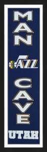 Framed Utah Jazz Man Cave banner.
