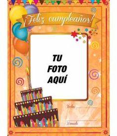 Tarjeta de cumpleaños con marco de fotos rojo, globos y pasteles para - Fotoefectos Happy Birthday Cards, Sculpture Art, Symbols, Letters, Orange, Words, Angels, Disney, Amor