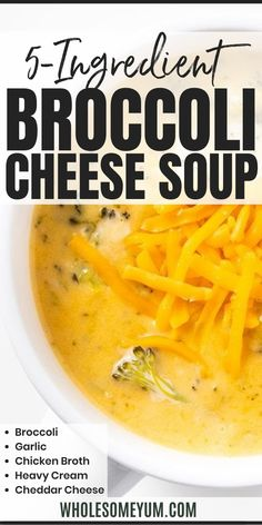 Easy Broccoli Cheese Soup Recipe - 5 Ingredients - How to make the best broccoli cheddar soup in 20 minutes! This easy, low carb broccoli cheese soup recipe is healthy, CHEESY, 5 ingredients, & gluten-free. #wholesomeyum