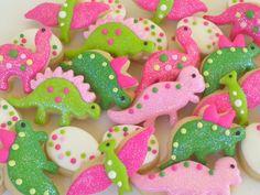 Dinosaur Girly Cookies~ Mini Sugar Cookies- 3 Dozen, By A Cookie Jar on Etsy, pink dinosaurs, green dinosaurs, white dinosaur eggs