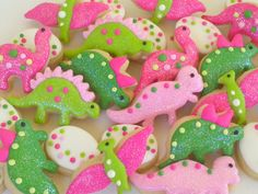 Dinosaur Girly Cookies~ Mini Sugar Cookies- 3 Dozen, By A Cookie Jar on Etsy, pink dinosaurs, green dinosaurs, white dinosaur eggs