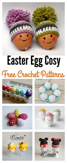Crochet Patterns Design Crochet Easter Egg Cosy Free Patterns - For all the crochet lovers out there, here are some Crochet Easter Egg Cozy Free Patterns for you to make your easter eggs absolutely adorable. Crochet Egg Cozy, Crochet Home, Free Crochet, Easter Projects, Easter Crafts, Easter Crochet Patterns, Easter Egg Designs, Holiday Crochet, Crochet Accessories
