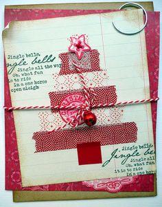washi tape tree - kerstboom gemaakt van masking tape