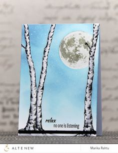 """Me and Minime crafting: Altenew Birch Land & Too The Moon """"Relax"""" card"""
