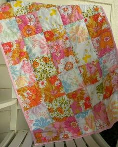baby quilt made from vintage sheets, i love this idea... maybe i'll do this for my niece and new nephew!