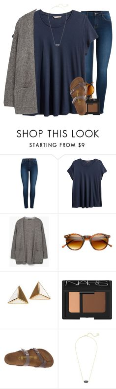 """storms for daysss"" by madelinelurene ❤ liked on Polyvore featuring Pieces, H&M, MANGO, SW Global, NARS Cosmetics, Birkenstock and Kendra Scott"