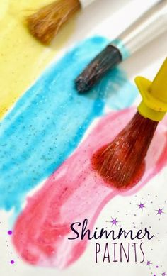 Make art the sparkles and shines with homemade SHIMMER Paint- This paint dries glossy and silky with a really neat texture and it is so easy to make!