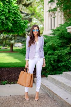 Work Outfit- all white, touch of color with the blazer