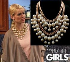 Fashion 2 broke girls big pearl Multilayer beads Chunky statement collar chain Necklaces & Pendants women girls  2014 New Brand US $3.99