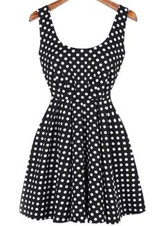 Rückenfreies Kleid mit Punktemuster-schwarz-Sheinside