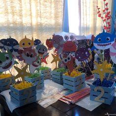 Baby Boy 1st Birthday Party, 2nd Birthday Party Themes, Birthday Ideas, Shark Party Decorations, Party Centerpieces, Baby Hai, Superhero Theme Party, Spy Party, Birthday