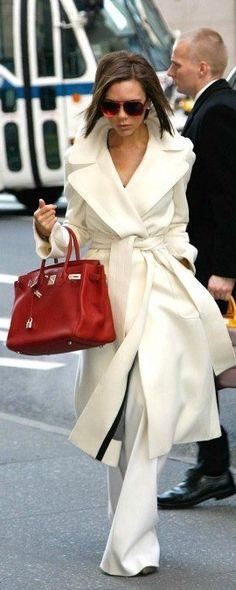white winter coat on victoria beckham