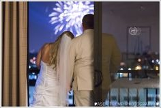 Wedding ceremony and reception |  Sheraton Park Hotel at the Anaheim Resort - Disneyland Fireworks from the 12th floor ©Asea Tremp Photography 2014
