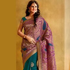 Purple and Teal Blue Art Silk and Art Banarasi Silk Saree with Blouse