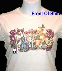 Gardening Cats Shirt, Kitty's - Butterflies - Flower Pots, Cat T-Shirt, Friends #Unbranded #CrewNeck