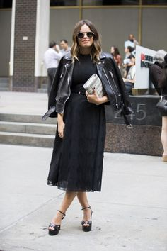 new years eve outfit idea black midi skirt top leather jacket melodie jeng square