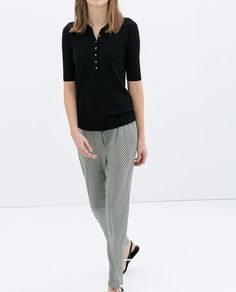 TROUSERS WITH FAUX LEATHER WAIST from Zara $20