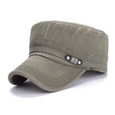 In Quality Intelligent Flat-top Canvas Baseball Cap Color Block Vintage Military Unisex Hat Excellent
