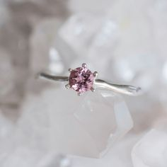 one of a kind tourmaline solitaire ring in white 14k gold