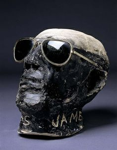 "Black Skull with Sunglasses by James ""Son"" Thomas / American Art Curated by theblueswoods.com Portraits of the #Blues Icons depicted on #reclaimed #wood"