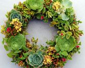 two of my favorite things: succulents and a wreath.