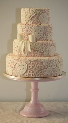 Beautiful  Cake  [Photo only] #pink #lace #rose