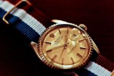Rolex Datejust with a red, white and blue NATO strap with gold hardware. Details make the difference. Stylish Watches, Cool Watches, Rolex Watches, Watches For Men, Watch Tumblr, Nato Strap, Elegant Man, Vintage Rolex, Vintage Watches
