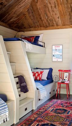 Bunk Bed Stairs, Country, boy's room, Kristina Crestin Design