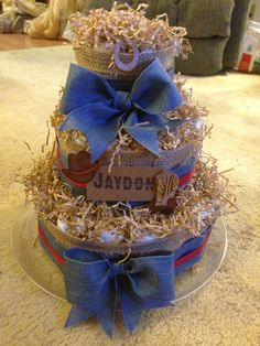 Western themed baby boy diaper cake.   Burlap & denim ribbon accents.