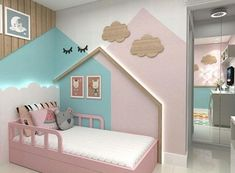 Gorgeous kids bedroom with houses on the wall Kids Bedroom Paint, Baby Bedroom, Baby Room Decor, Girls Bedroom, Bedroom Decor, Trendy Bedroom, Childrens Bedrooms Girls, Childrens Beds, Toddler Rooms