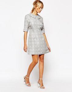 8a1aecf3350 Fashion Union Brocade Aline Dress with Collar