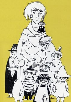 Tove Jansson with her Moomin characters Moomin Valley, Tove Jansson, Selfies, Children's Book Illustration, Childrens Books, Art Drawings, Fairy Tales, Childhood, Artwork