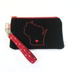 Wisconsin Home State Pride Wristlet Purse - Madison Love - Go Bucky