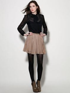 bow blouse & pleated skirt