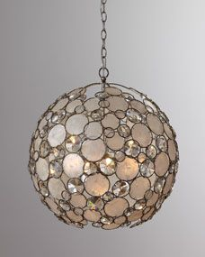 Paired with the larger capiz chandelier this would be amazing. Antiqued Silver-Leaf Chandelier at Horchow. Capiz Chandelier, Modern Chandelier, Crystal Chandeliers, Leaf Pendant, Round Pendant, Shell Pendant, Crystal Pendant, Neiman Marcus, Retro Lamp