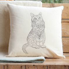 Cat Print Cushion Cover With Inner Option