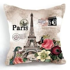 OJIA Retro Vintage Paris Eiffel Tower Home 18 X 18 Inch Cotton Linen Decorative Throw Cushion Cover / Pillow Sham
