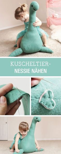 DIY sewing tutorial and pattern: soft toy Nessie for the nurserySewing instructions for a cuddly toy: sewing Nessie as a big playmate Nessie for the nursery via DaWWe love DIY toys. It's so much fun taking things from around the house and turning the Sewing Toys, Baby Sewing, Sewing Crafts, Sewing Projects, Diy Crafts, Baby Toys, Kids Toys, Sewing For Kids, Diy For Kids