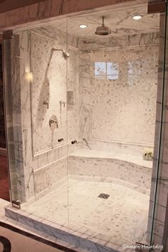 Love the shower size & layout, not the color & add another shower head or two