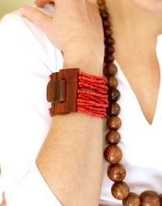 beaded bracelet with wood buckle