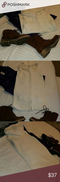 """Gymboree  off white sweater vest sz M 7/8 Gymboree longer sweater vest  button down off white/cream color. Hooded.( Has one broken button at very bottom.)Very stylish and in good shape! Sz M 7/8. Long in length falls between hip and knee..  4.5"""" sz Small pockets  in front. 26"""" approx.deep.also from shoulder  to bottom of sweater. Purchased  at Henderson  Gymboree  in NV Mall. Gymboree Shirts & Tops Sweaters"""