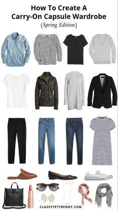 How To Create A Carry-On Capsule Wardrobe (Spring Edition) Outfits - Classy Yet ., How To Create A Carry-On Capsule Wardrobe (Spring Edition) Outfits - Classy Yet Trendy - Find out how to create a Spring travel capsule wardrobe, what. Capsule Outfits, Fashion Capsule, Mode Outfits, Capsule Wardrobe Casual, Classy Yet Trendy, Trendy Style, Curvy Style, Travel Capsule, Trend Fashion