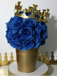 Baby Shower Centerpieces For Boys Prince Birthday Parties Ideas For 2019 Baby Shower Table Centerpieces, Baby Shower Decorations For Boys, Boy Baby Shower Themes, Baby Shower Parties, Baby Boy Shower, Centerpiece Decorations, Shower Party, Royalty Baby Shower Theme, Blue Party Decorations