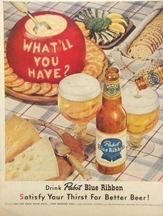 Paper Ads Pabst Blue Ribbon Beer Pabst Brewing Company Milwaukee WI USA  Crackers and Cheese