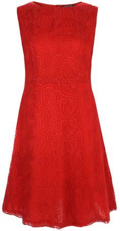 Red embroidered chiffon A line Dress by ROSAvelt by ROSAvelt