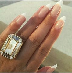 Oval shaped French tips